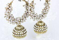 Long Gold & Silver Diamante Heavy Pearl work Ram Leela Hoop Jhumka Jhumki Dangle Drop Chandelier Bollywood Indian Vintage Style Earrings