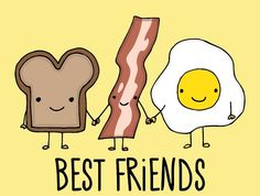 #bacon #tost #eggs #cute #best Friends