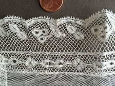Vintage Net and Lace Large Doll Scarf Kerchief Handmade Valenciennes Lace Edge…