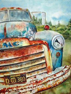 watercolor old truck