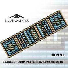 Bracelet loom patterns / square stitch made with size 11/0 Miyuki round beads Width: 3,6 cm / 1.4 (25 columns) Length: 15,7 cm / 6.2 Colors: 5  Patterns include: - Large colored numbered graph paper (and non-numbered in another files) - Bead legend (numbers and names of Toho beads colors ) - Word chart - Pattern preview  This pattern is intended for users that have experience with loom and the pattern itself does NOT include instructions on how to do this stitch. 1 JPG & 1 PDF files…