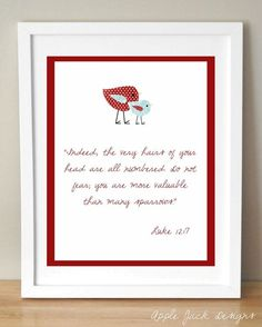 Nursery Scripture Baby Bird Child Art Print by applejackdesigns, $8.00