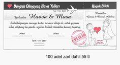 Uçak bileti şeklinde düğün davetiye örneği