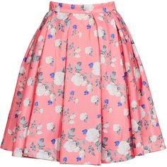 Rental ERIN erin fetherston Hibiscus Floral Skirt ($60) ❤ liked on Polyvore featuring skirts, bottoms, faldas, saias, dresses, floral printed skirt, floral print skirt, red full skirt, full pink skirt and red floral skirt