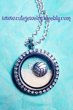 Look at this Cute Jewelry!  South Hill Designs Volleyball Charm in a Medium Crystal Locket with sand!
