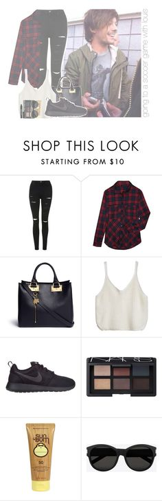 """""""going to a soccer game with louis"""" by rosa-brooks ❤ liked on Polyvore featuring Topshop, Alygne, Sophie Hulme, NIKE, NARS Cosmetics, Sun Bum, Yves Saint Laurent, Lord & Berry, OneDirection and louis"""