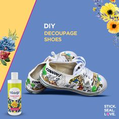 Have an old pair of shoes to recycle? Make a style statement by sticking quirky cartoon characters on the shoes with Fevicryl Modge Podge. Diy Decoupage Shoes, Decoupage On Canvas, Decoupage Furniture, Plain Canvas, Comic Book Characters, Diy Home Crafts, Couple, Sport, Link