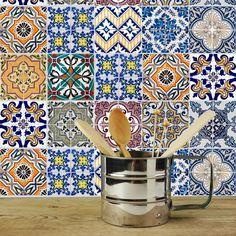 Dekorative Stickerfliesen mit tollen Motiven und Ornamenten für Wände und Fliesen | 12 teiliges Set | 15x15cm: Amazon.de: Küche & Haushalt