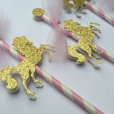 Glitter Carousel Horse / Merry Go Round - Paper Straw Cupcake Topper - Package of 6