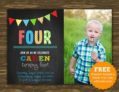 Chalkboard Boy Birthday Invitation - Printable - FREE pennant banner and thank you card with purchase on Etsy, $15.00