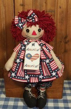 Handmade Americana Button Eye Raggedy Ann Doll in Flags by Cathy