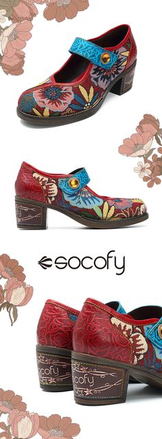 US$53.20  SOCOFY Floral Jacquard Splicing Leather Pattern Hook Loop Pumps #Summerpumps #Womensandals #Newchicshoes #Floralshoes