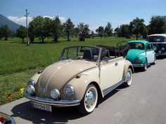 Franz Kollegger, from Köflach, Austria. His Two-Tone finish 1969 VW Beetle Cabriolet, RAL 1019 Grey Beige and RAL 1016 Sulfurt Yellow, automatic transmission with Dual carburetors, customized Porsc…