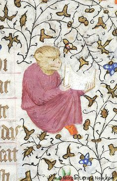 Monkey and body of human, seated, looking at scroll held with both hands   Book of Hours   France, Paris   ca. 1420–1425   The Morgan Library & Museum