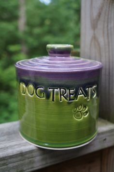 DOG TREATS with Paw Print Jar Canister Lidded by KbOriginalsetc, $32.00