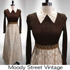 Vtg 60s Maxi Dress Metallic Gold Peter Pan Collar Quilted Embroidered Brocade XS