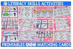These activities will help you teach the most important kindergarten literacy skills. They can be used for review and practice in whole and small groups, for homework, and for assessments. These activities can also be used during small group interventions and as a review for first graders. For each literacy skill included, you will get 5 different activity sheets and colored game cards that complement each activity.