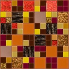 Autumn Fire - a new custom blend inspired by fall leaves and warm colors! This gorgeous mosaic features dichroic glass tiles! $78.99