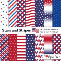 """July 4th paper - Stars and Stripes Digital Papers - 12x12"""" - high res - scrapbooking paper - instant download - commercial use by TheDigitalFinch on Etsy"""
