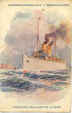 """ Gruss aus From The Hamburg-Amerika Line , 1908 "" Karodens Vintage Post Cards."