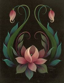 Lotus in rosemaling style back piece Samples Maureen McNaughton