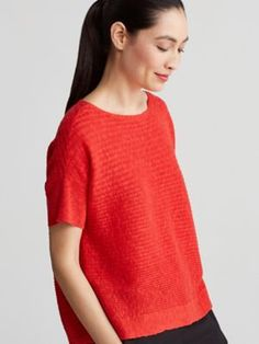 Bateau Neck Short-Sleeve Box-Top in Organic Linen Cotton Slub-S7FMH-W4290