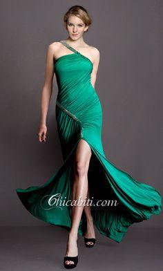 Monospalla Abito Da Cerimonia Elegante Spacco Alto ACM328#chicabiti#