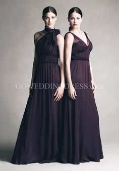 A-Line Floor-length Crinkle Chiffon/ Tulle Bridesmaid Dress Style JYCC240/ JYBB244/JYCC242
