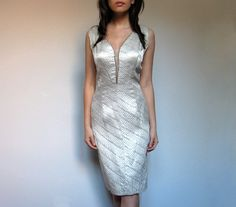 Vintage Metallic Dress Party Silver White 60s L by MidnightFlight, $94.00