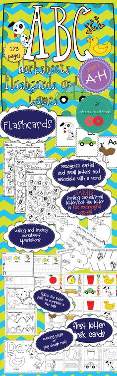 ABC Set (Part 1 A-H) ~~~~~~~~~~~~~~~~~ Fun and meaningful activities Flashcards Worksheets