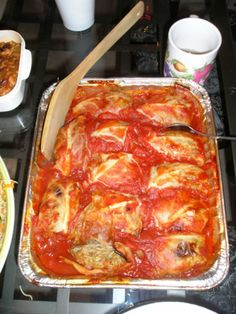 This is my favourite cabbage roll recipe. They are low-fat, easy to make, produce high yield, and are cleaned up whatever party I bring them to. They provide all four food groups in one dish.