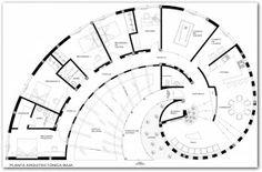 APUNTES - REVISTA DIGITAL DE ARQUITECTURA: Casas curvas y circulares The Plan, How To Plan, Golden Ratio Architecture, Architecture Plan, Earthship Plans, Circular Buildings, Silo House, Shipping Container House Plans, Floor Plan Layout