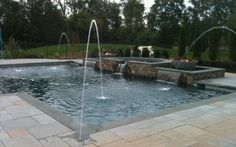 Exciting Bluestone Pavers For Best Natural Stone Flooring Materials: Charming Outdoor Pool With Bluestone Pavers Pool Deck And Pool Coping For Backyard Landscape