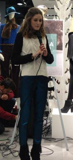 Olivia Palermo wearing Bakers Flare Bk Boots, Topshop Knitted Colour Block Jumper and Jenni Kayne Slim Satin Pant.