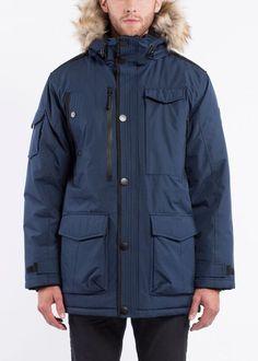 Featuring heavyweight insulation, this men's parka from Noize tames the elements. Dark Navy, Faux Fur, Hoods, Rain Jacket, Windbreaker, Raincoat, Hooded Parka, Jackets, Blue