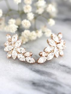 Bridal Rose Gold earrings,Swarovski Crystal Climbing earrings,Bridal Cluster Studs,Swarovski Bridal earrings,White Crystal Vintage Earrings by iloniti on Etsy https://www.etsy.com/listing/275018836/bridal-rose-gold-earringsswarovski