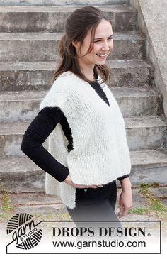 Breipatroon Dames poncho, patroon is GRATIS te verkrijgen. Drops Design, Baby Knitting Patterns, Free Knitting, Crochet Patterns, Drops Kid Silk, Crochet Diagram, Cardigan Pattern, Knit Vest, Work Tops