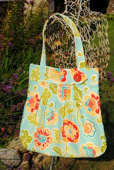 Turquoise Floral Pleated Purse Tote  by TheTatteredTraveler, $58.00