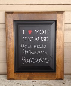 I love you because Chalkboard natural wood dark by BetsysWood