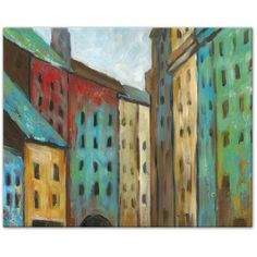'Painted Colorful Buildings' Acrylic Painting Print on Canvas ($23) ❤ liked on Polyvore featuring home, home decor, wall art, colourful paintings, colourful wall art, painted wall art, canvas wall art and canvas home decor