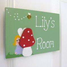 Personalised fairy toadstool bedroom door plaque.  £12.00