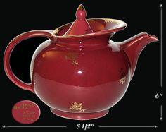 Wonderful Maroon Hall Standard Gold Windshield Teapot