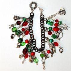 Christmas charm bracelet beaded  red green by ThisArtOfMineUS, $40.00