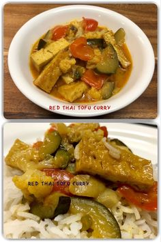 Red Thai Tofu Curry  #vegan #tofu #curry #thai #yummy #delicious #tasty #lecker #homemade #recipe #Rezept #hausgemacht #rice #traditional #food #essen #vegetarian #proteinrich #healthy #gesund #cooking #kochen #capsicum #bellpeppers #vegetables #gemüse #vegetarisch Crockpot Recipes For Two, Easy Healthy Recipes, Easy Dinner Recipes, Easy Meals, Tofu Thai Curry, Curry Rice, Italian Recipes, Mexican Food Recipes, Vegetarian Recipes