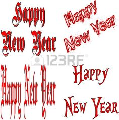 Happy New Year written in red on a white background
