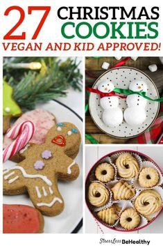 vegan christmas cookies for holiday season Vegan Christmas Cookies, Easy Christmas Cookie Recipes, Cookie Recipes For Kids, Cookies For Kids, Easy Vegan Cookies, Raw Chocolate, Gingerbread Cookies, Kids Meals, Recipe Books