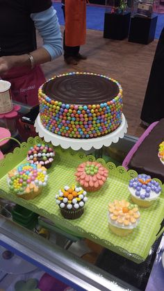 Flower Cupcakes & a Spring Mix decorated chocolate cake! #Sixlets #Pearls #SweetShapes