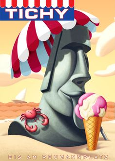 TICHY ice cream posters by David de Ramon, via Behance