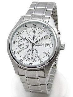 caf33d93e Seiko Men's Chronograph White Dial Steel 100m Quartz Watch Snd217 SND217P1  for sale online   eBay
