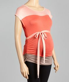 Look at this #zulilyfind! Peach & Coral Color Block Maternity Top - Women by Mom & Co. #zulilyfinds